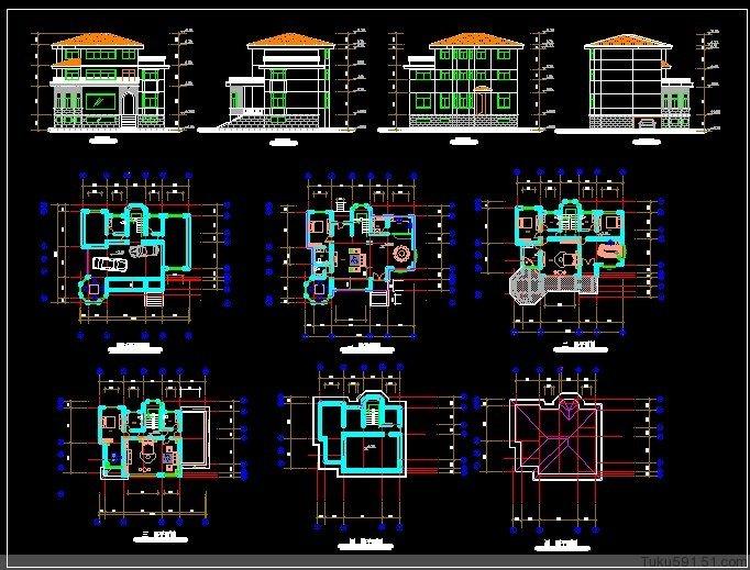 一千多套精美别墅设计图纸方案及效果图大全 新农村住宅 6