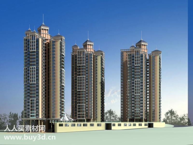 建筑模型库d套 室外效果图素材 商业 住宅设计 3dmax模型